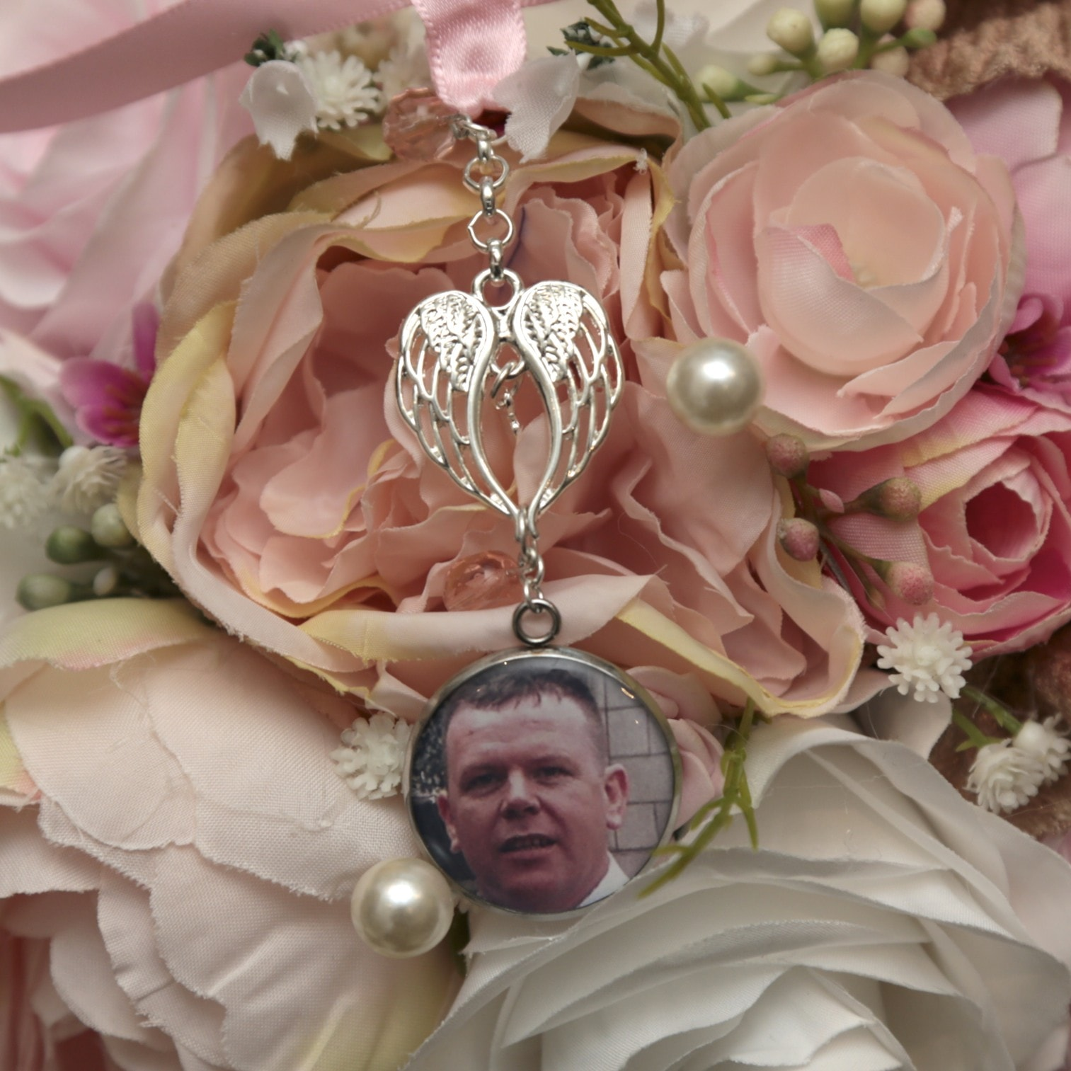 Wing Photo Bouquet Memory Charm - Wedding Bouquet Charms